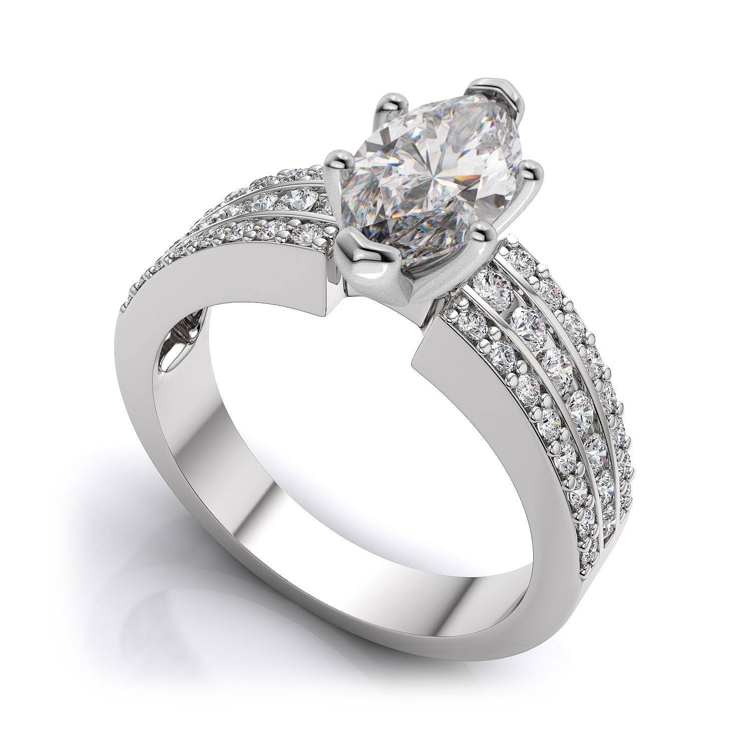 Channel Set Marquise Cut Sidestones Engagement Ring Setting In 14K Inside Marquise Cut Diamond Wedding Rings Sets (View 3 of 15)