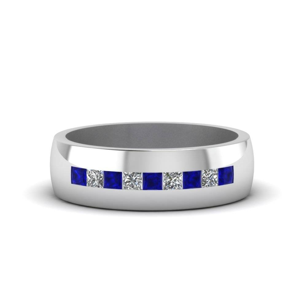 Channel Set Princess Cut Diamond Band For Men With Blue Sapphire Regarding Blue Sapphire Men's Wedding Bands (View 1 of 15)