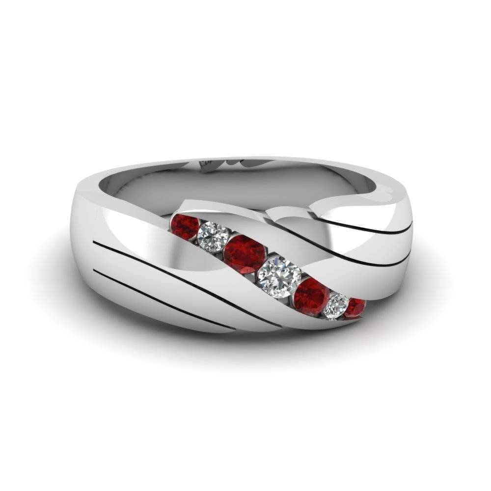 Channel Set Red Ruby Mens Wedding Ring In 14K White Gold Throughout Men's Wedding Bands With Ruby (View 5 of 15)