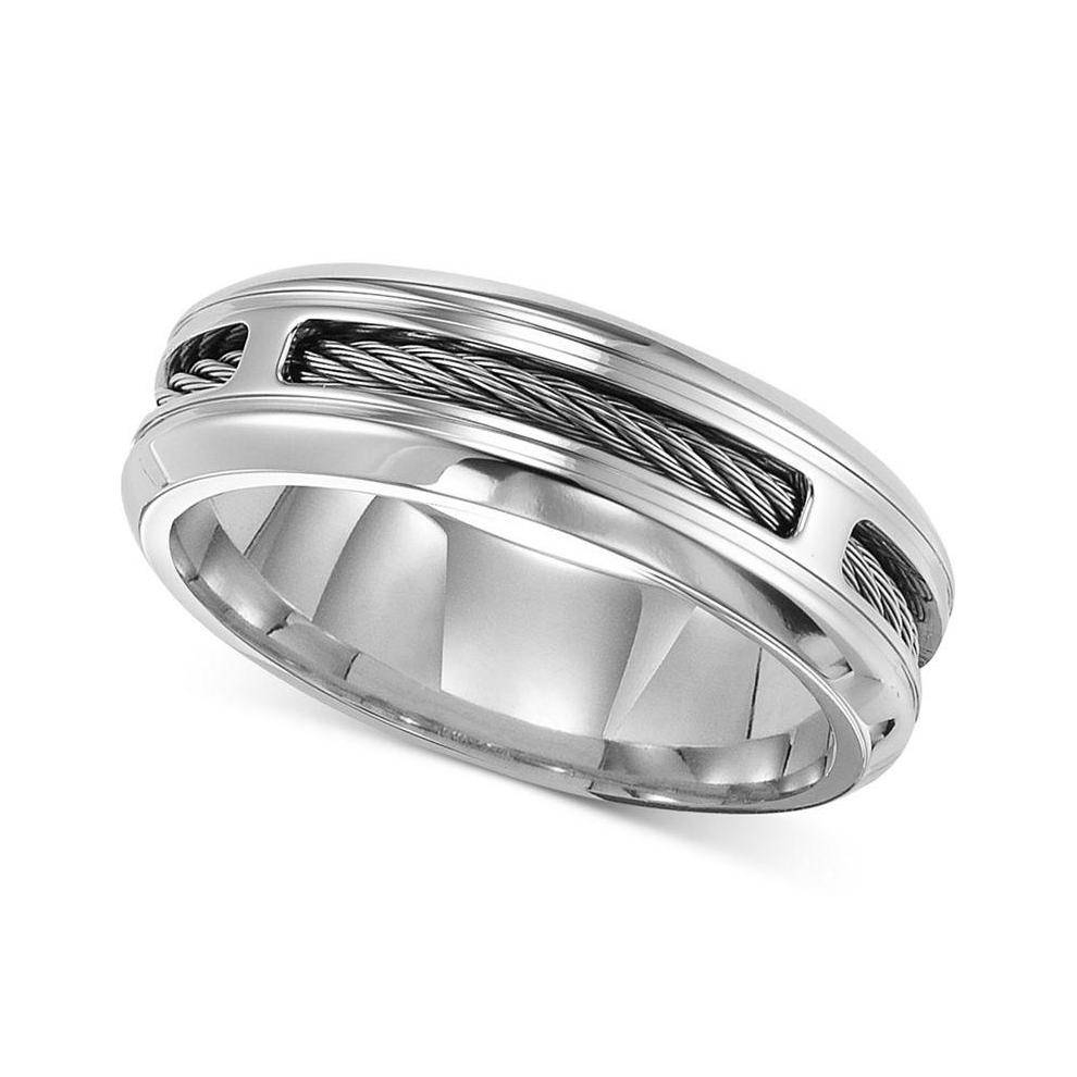 Cherish Always Tungsten Carbide Diamond Accent Wedding Band Men Inside Macys Men's Wedding Bands (View 4 of 15)