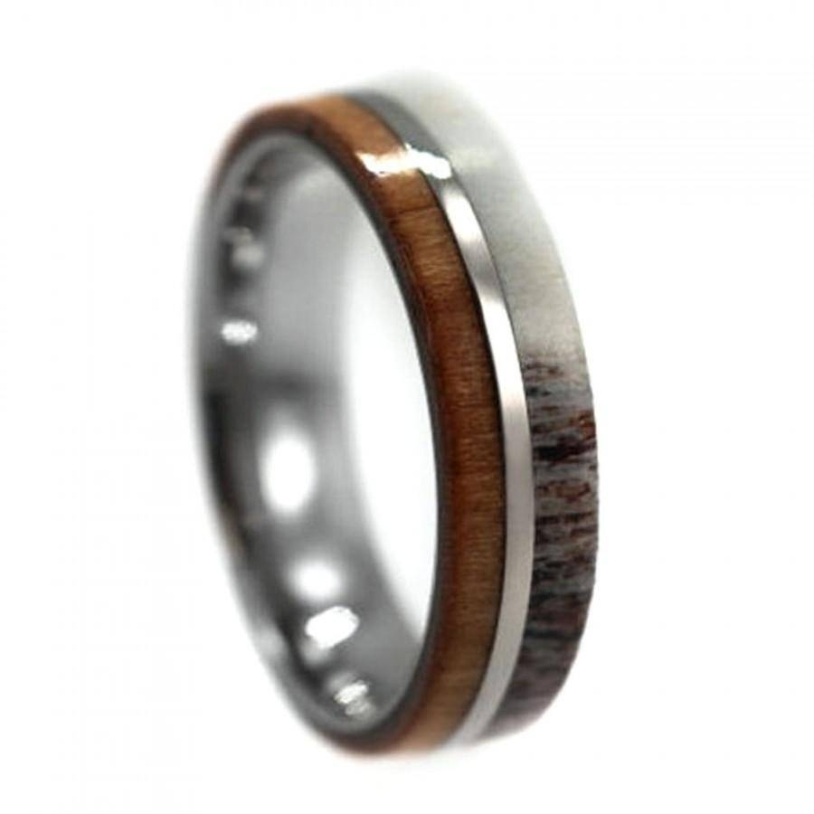 Cherry Wood And Deer Antler Wedding Ring For Men, Titanium Band With Antler Wedding Bands (View 5 of 15)