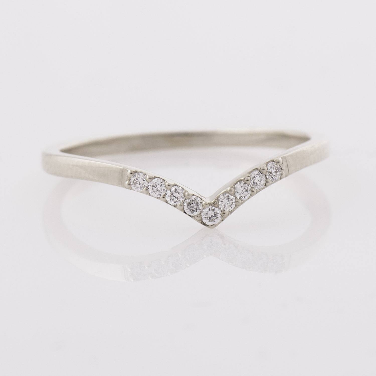 Chevron Ring 14K White Gold Diamonds Ring V Shaped Ring With Regard To Skinny Diamond Wedding Bands (View 3 of 15)
