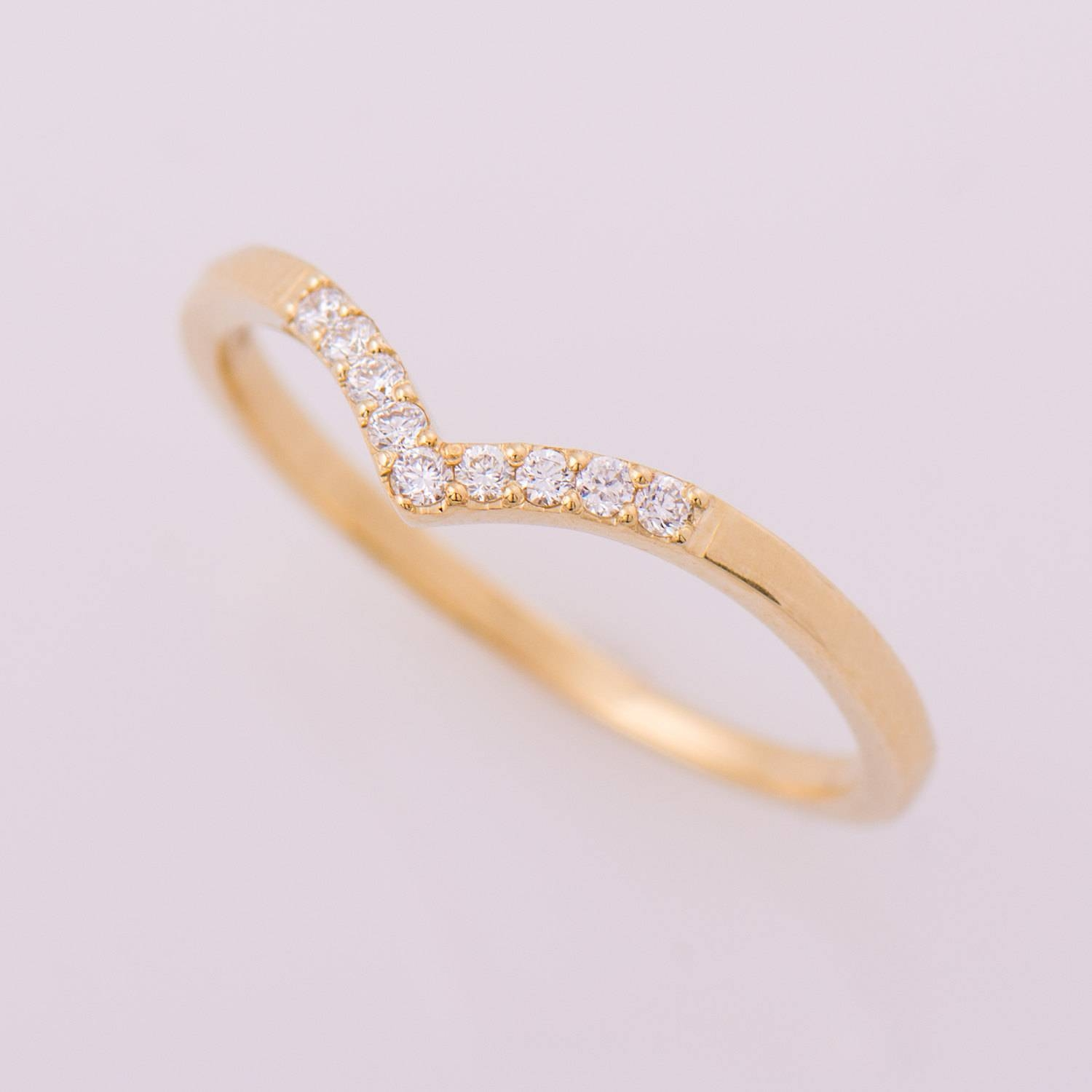 Chevron Ring 14K Yellow Gold Diamonds Ring V Shaped Ring Intended For Chevron Wedding Bands (View 4 of 15)