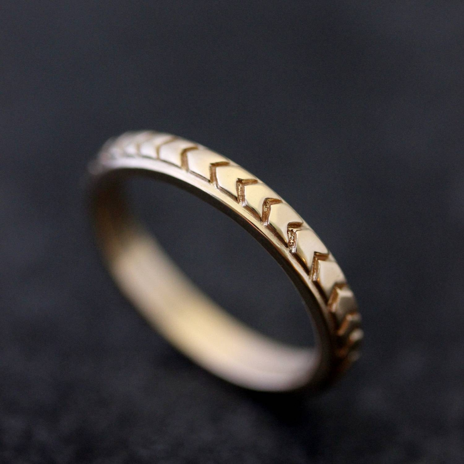 Chevron Wedding Band In 14K Yellow Gold Or 14K Rose Gold For Chevron Wedding Bands (View 5 of 15)
