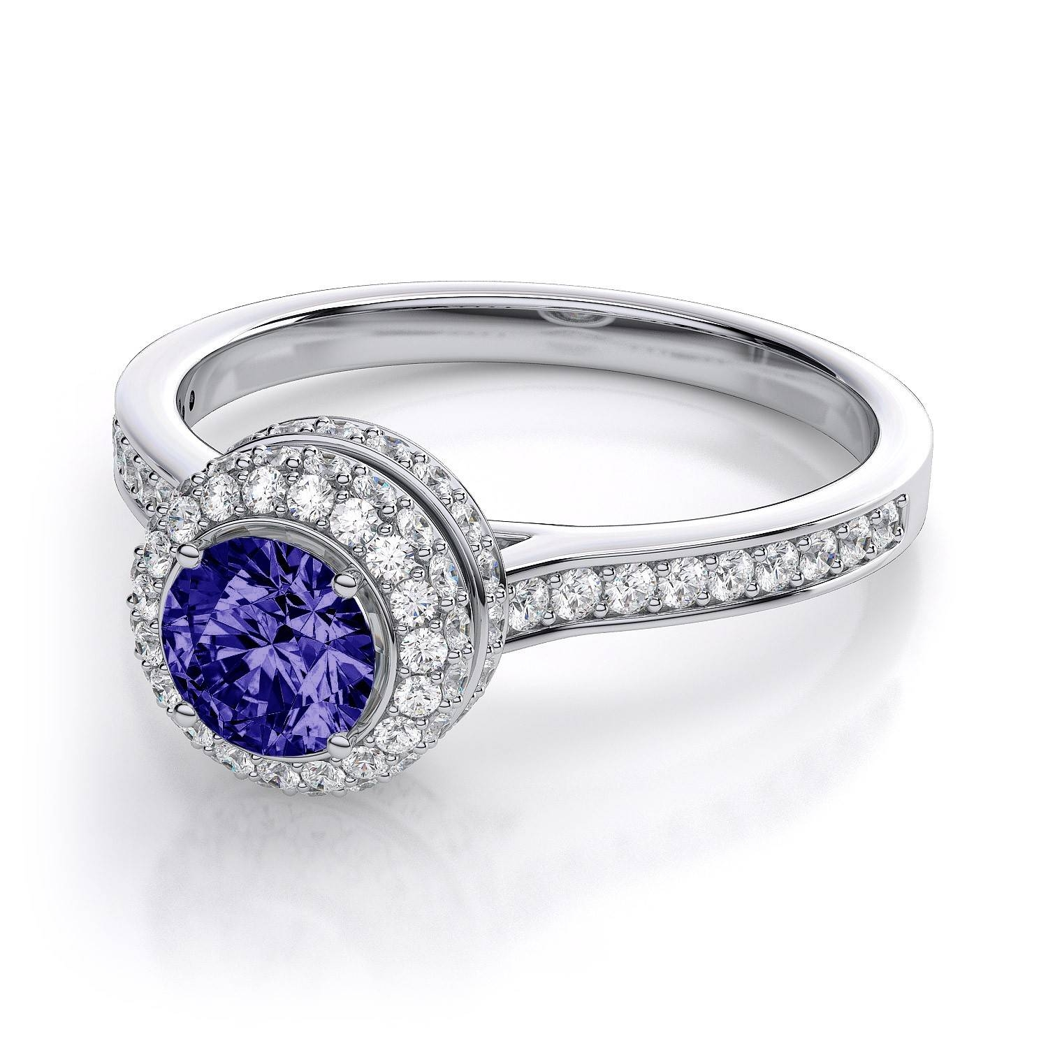 Cirque Halo Tanzanite And Diamond Engagement Ring In 14k White Gold Throughout Tanzanite White Gold Engagement Rings (View 5 of 15)
