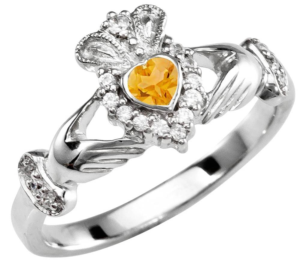 Citrine Diamond Silver Claddagh Ring – November Birthstone Within November Birthstone Engagement Rings (Gallery 1 of 15)