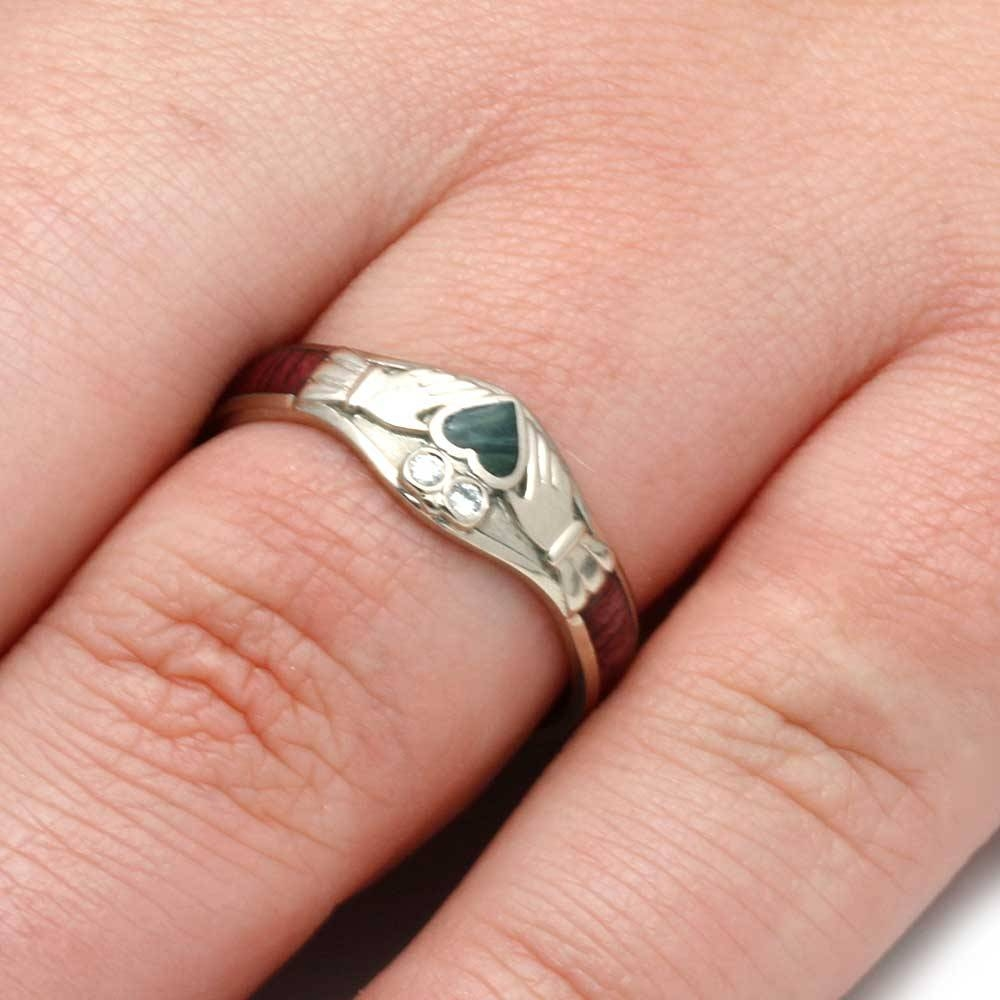 Claddagh Engagement Ring W/ Jade Heart Diamonds & Wood Pertaining To Claddagh Rings Engagement (Gallery 12 of 15)