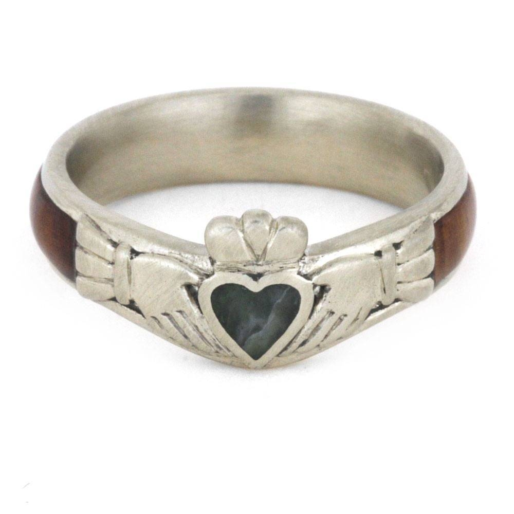Claddagh Engagement Ring W/ Jade Heart Diamonds & Wood Regarding Claddagh Engagement Rings (View 5 of 15)