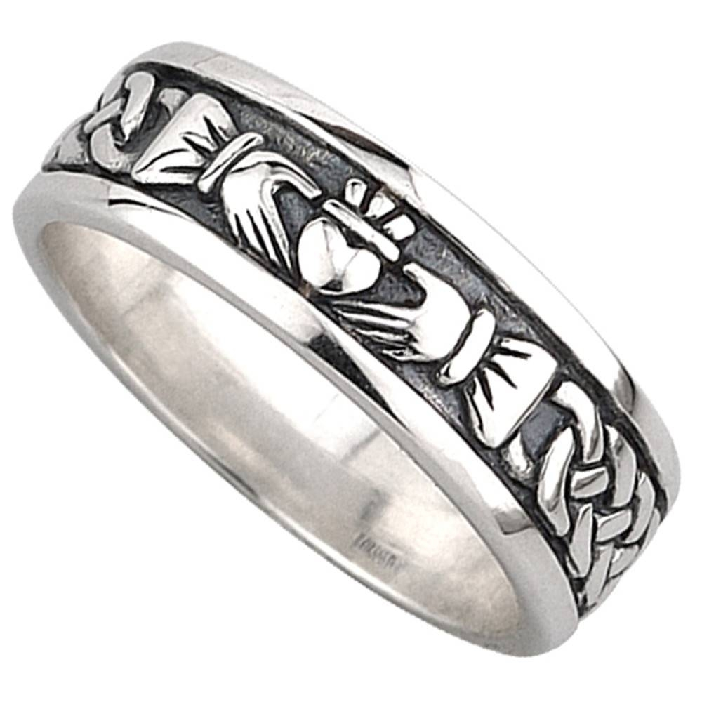 Claddagh Ring – Men's Sterling Silver Celtic Claddagh Wedding Band Within Celtic Engagement Rings For Men (View 14 of 15)