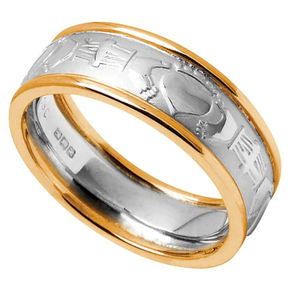 Claddagh Ring – Men's White Gold With Yellow Gold Trim Claddagh Within Claddagh Mens Wedding Bands (View 3 of 15)
