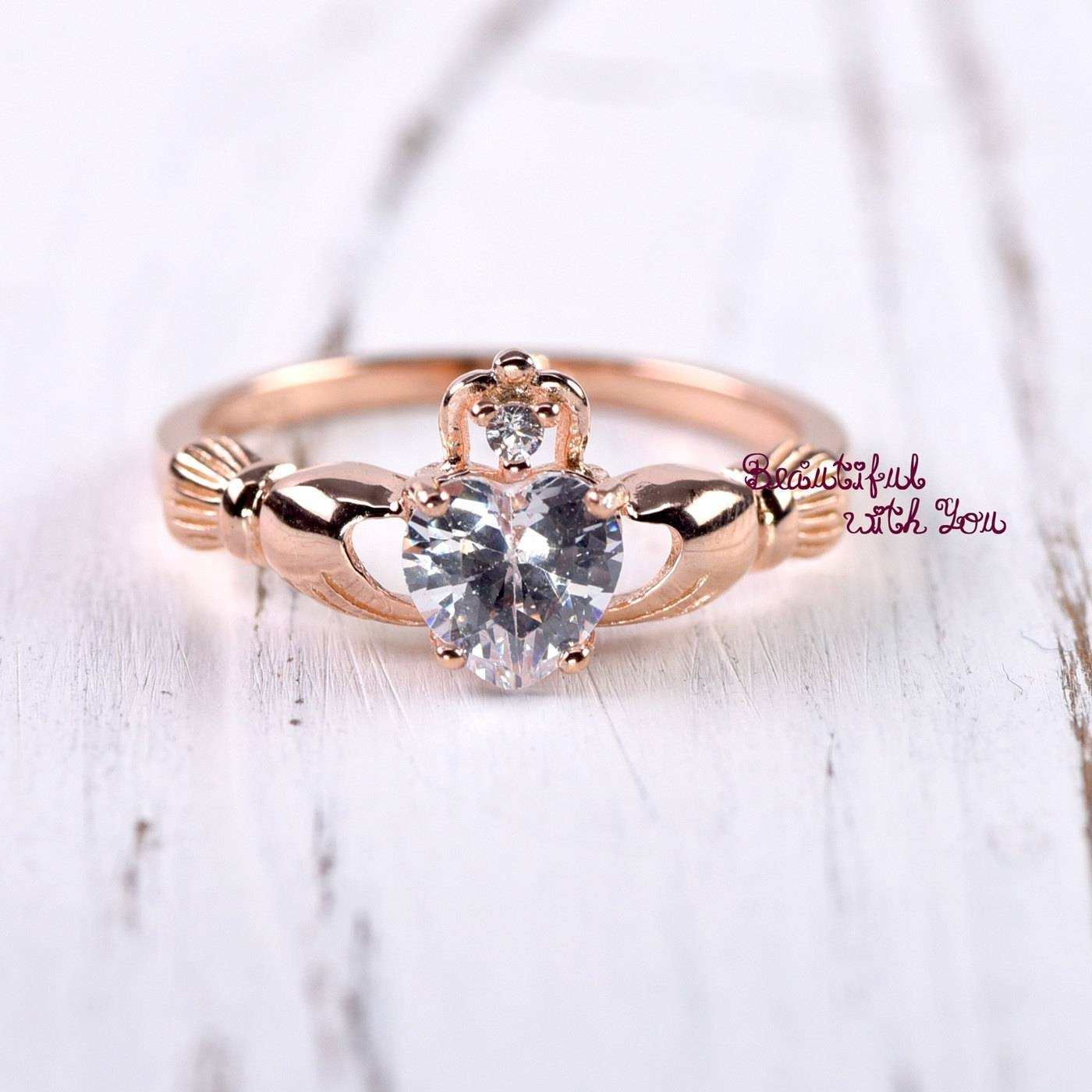 Claddagh Ring Rose Gold Claddagh Ring Womens Sterling Silver Intended For Claddagh Rings Engagement (View 15 of 15)