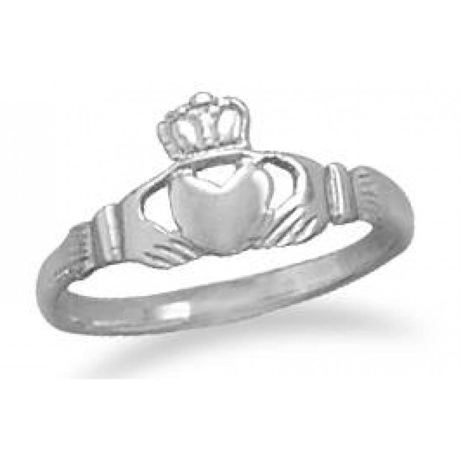 Claddagh Small Sterling Silver Ring – Irish Engagement Ring In Wiccan Engagement Rings (Gallery 9 of 15)