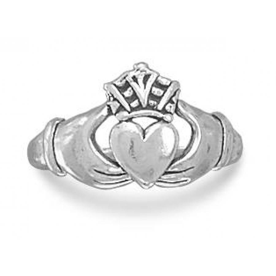 Claddagh Sterling Silver Ring With Antique Finish – Irish Intended For Pagan Engagement Rings (Gallery 4 of 15)