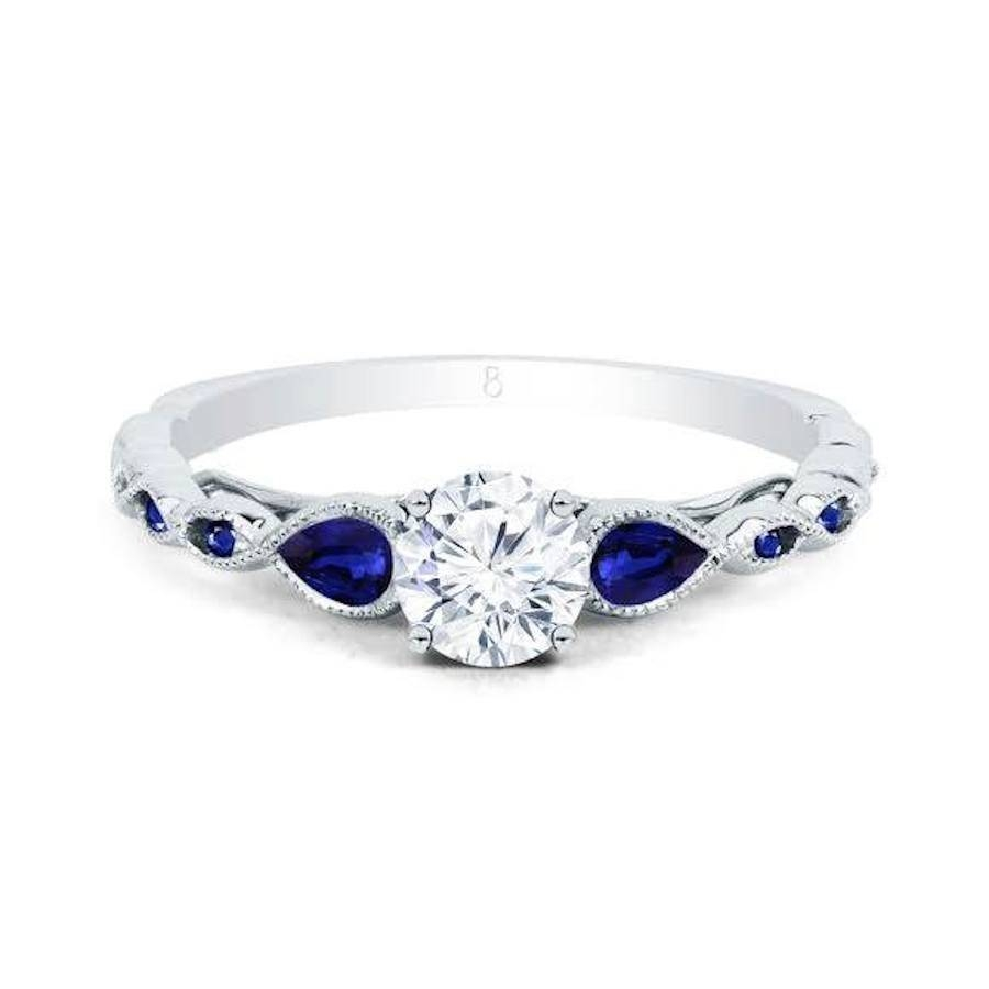 Clara Diamond & Blue Sapphire Ring – Gemstone Rings – Diamond Regarding Saphire Engagement Rings (View 2 of 15)