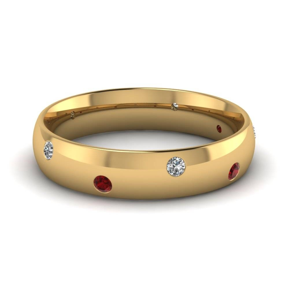 Classic Dome Diamond Comfort Fit Wedding Ring For Men With Ruby In Within Classic Gold Wedding Rings (View 7 of 15)