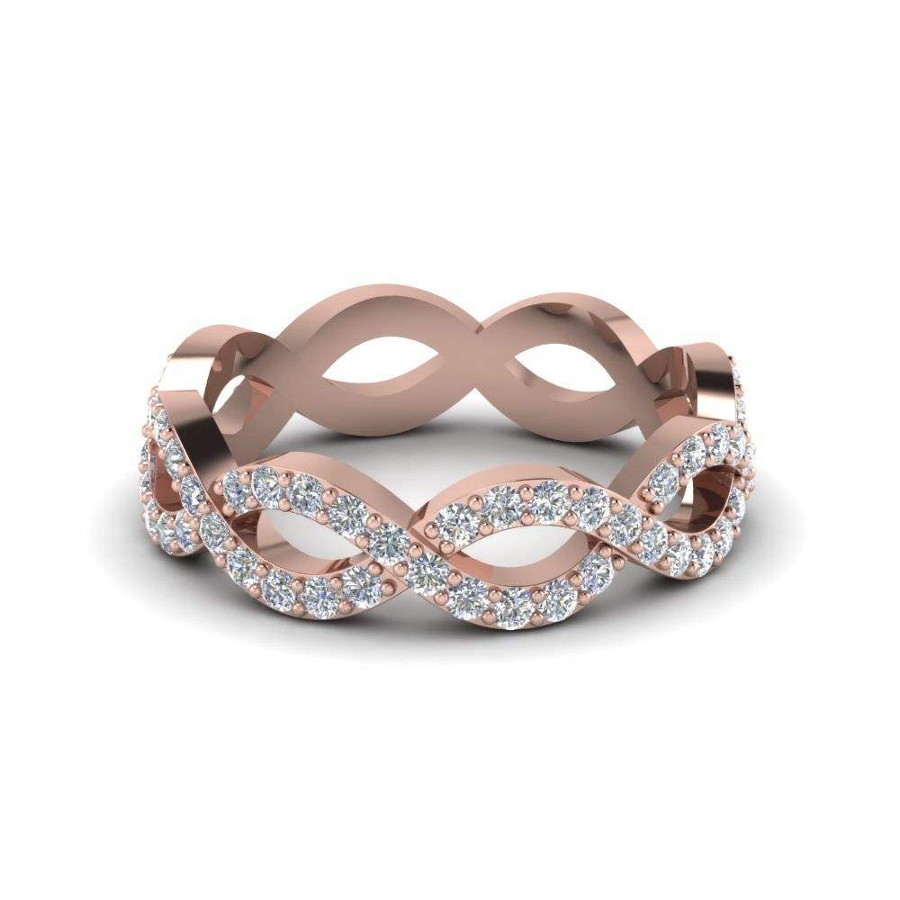 Classic Infinity Womens Eternity Diamond Band Ring In 14k Rose Pertaining To Infinity Twist Wedding Bands (View 15 of 15)