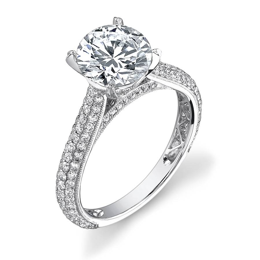 Classic Micro Pave Diamond Engagement Ring With Pave Wedding Rings (View 6 of 15)