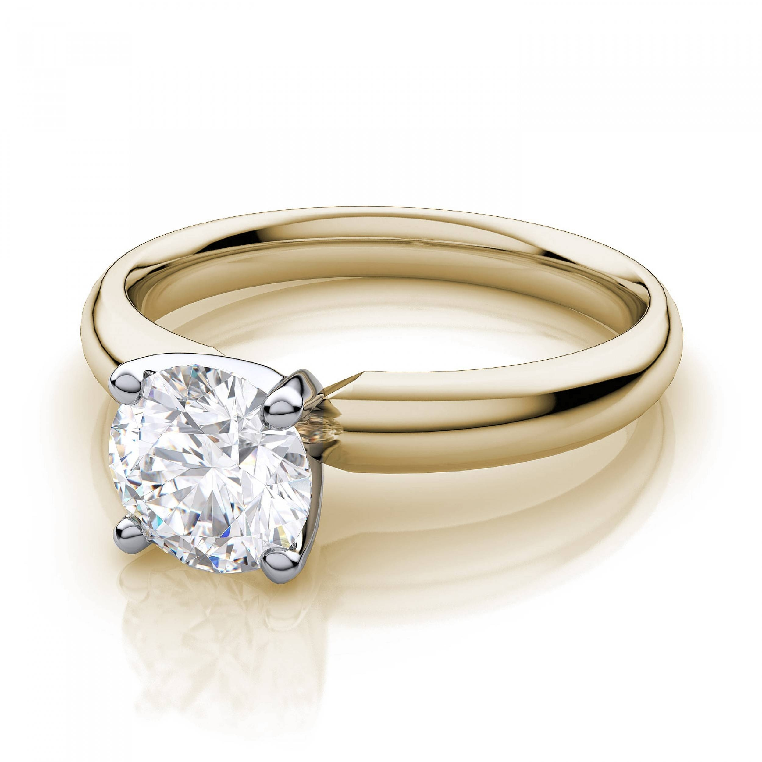 Classic Round Diamond Solitaire Engagement Ring In 18K Yellow Gold Regarding Engagement Rings 18K Yellow Gold (View 4 of 15)
