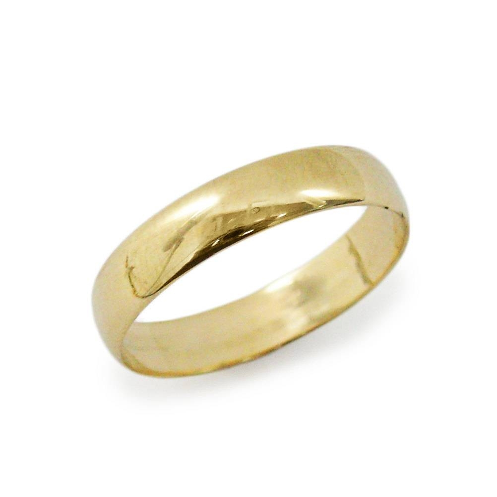 Classic Wedding Ring 5Mm. Rounded Yellow Gold Wedding Ring (View 9 of 15)
