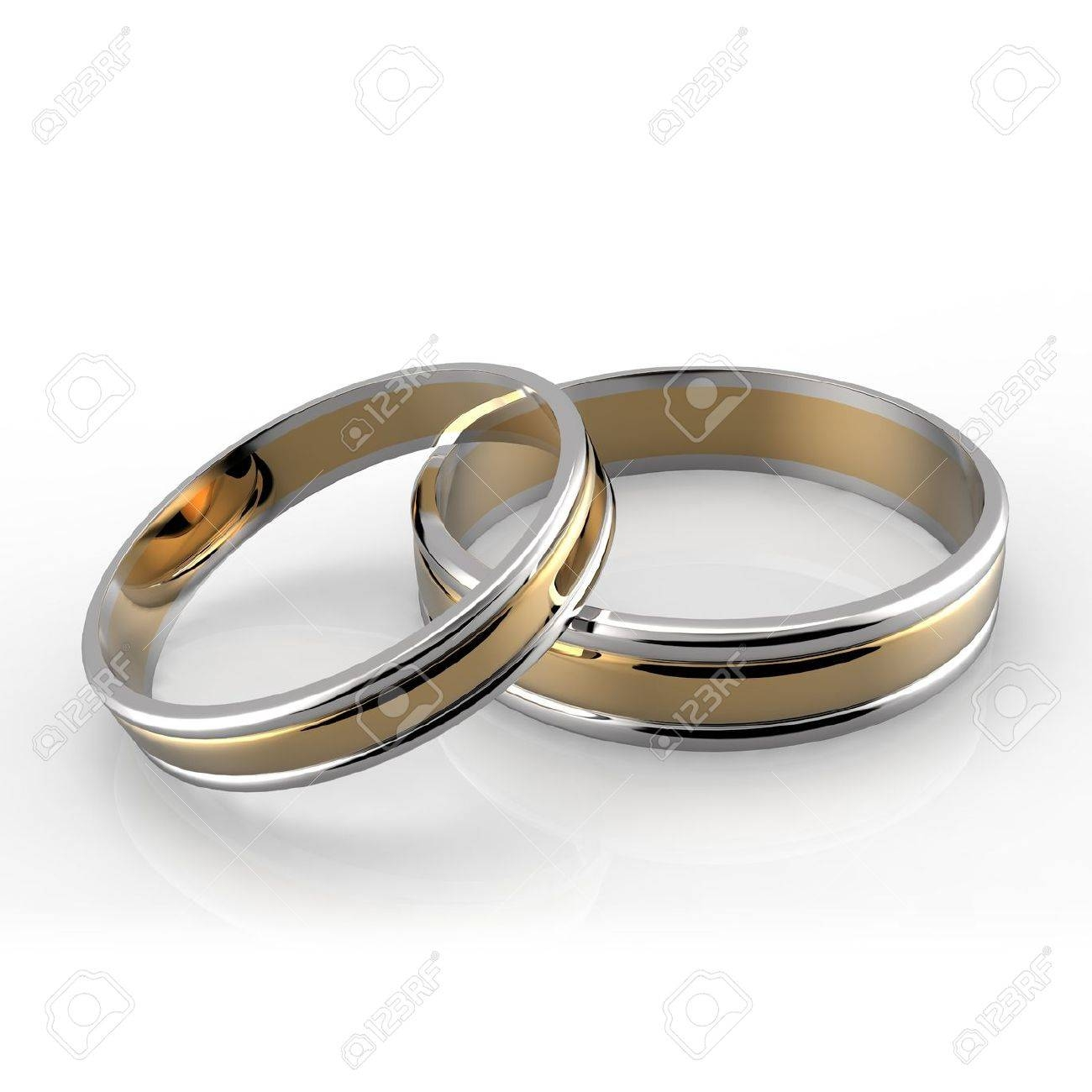 Closeup Of Platinum And Gold Wedding Bands On White Background For Platinum And Gold Wedding Rings (View 11 of 15)