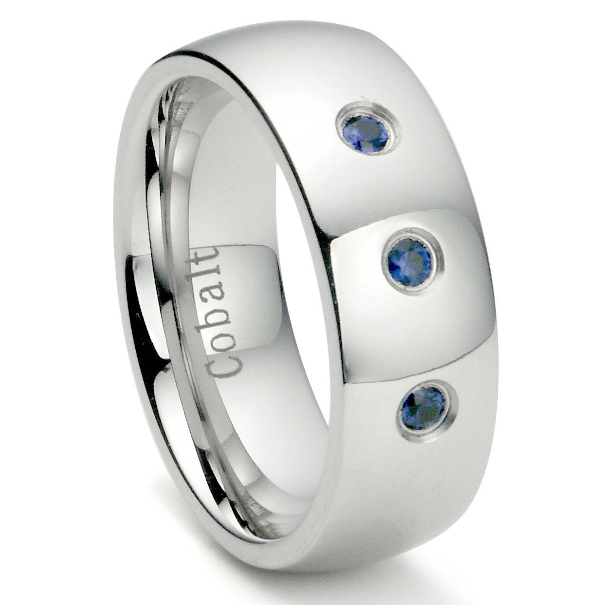 Cobalt Chrome 8Mm 3 Blue Sapphire Domed Wedding Band Ring Pertaining To Cobalt Wedding Rings (View 1 of 15)
