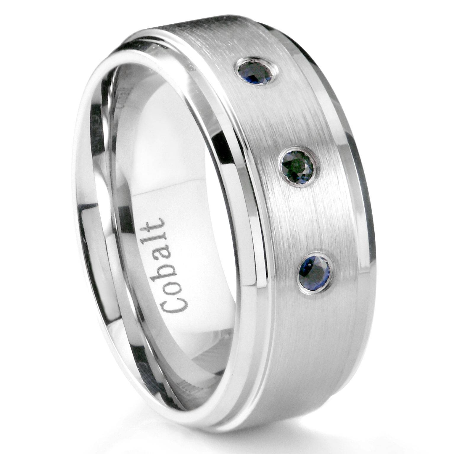 Cobalt Chrome 8Mm 3 Blue Sapphire Wedding Band Ring W/ Stepped Edges In Mens Blue Sapphire Wedding Bands (View 6 of 15)