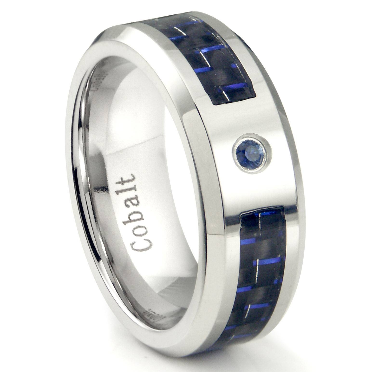Cobalt Chrome 8mm Blue Sapphire & Blue Carbon Fiber Inlay Wedding Intended For Blue Sapphire Men's Wedding Bands (View 9 of 15)