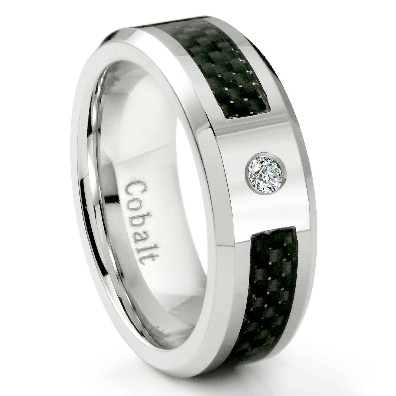 Cobalt Chrome 8Mm Diamond & Black Carbon Fiber Inlay Wedding Band Ring Throughout Cobalt Wedding Rings (View 3 of 15)