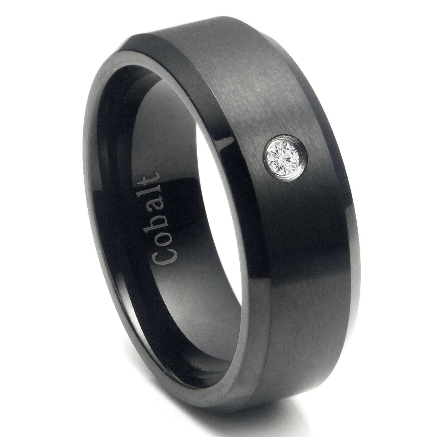 Cobalt Chrome Black Plated Diamond Wedding Band Ring With Hematite Wedding Bands (View 1 of 15)