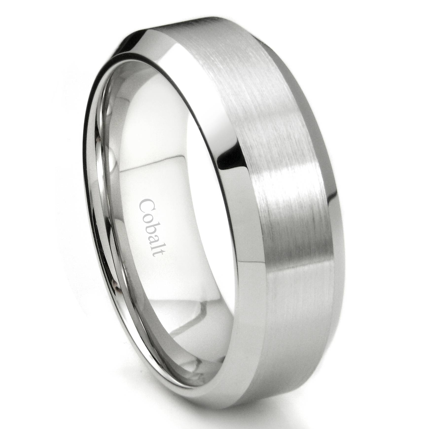 Cobalt Xf Chrome 8Mm Brush Finish Bevel Edge Wedding Band Ring With Regard To Cobalt Wedding Rings (View 7 of 15)