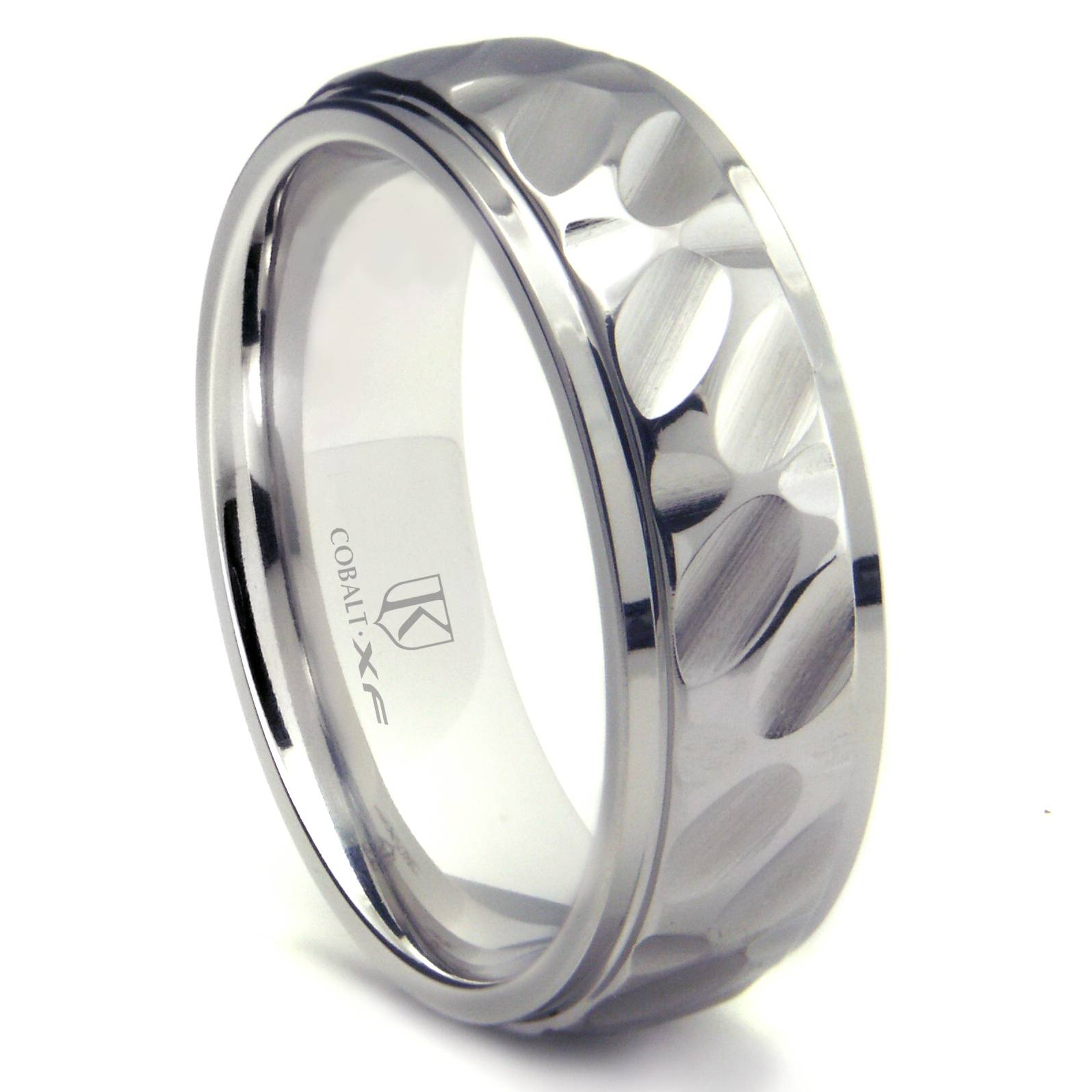 Cobalt Xf Chrome 8Mm Hammer Finish Wedding Band Ring Throughout Tungsten Hammered Wedding Bands (View 5 of 15)