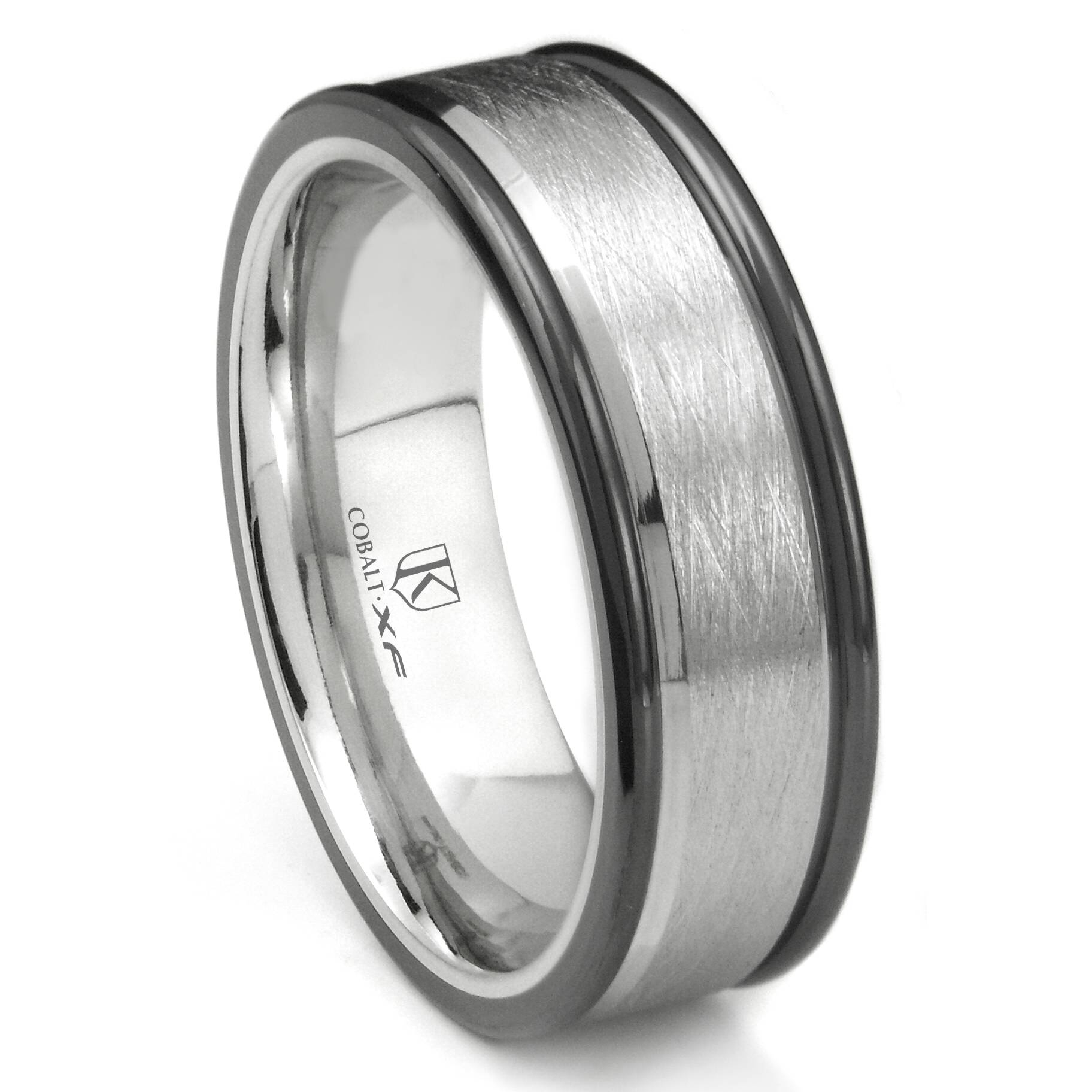 Cobalt Xf Chrome 8Mm Italian Di Seta Finish Two Tone Wedding Band Ring In Cobalt Mens Wedding Rings (View 6 of 15)
