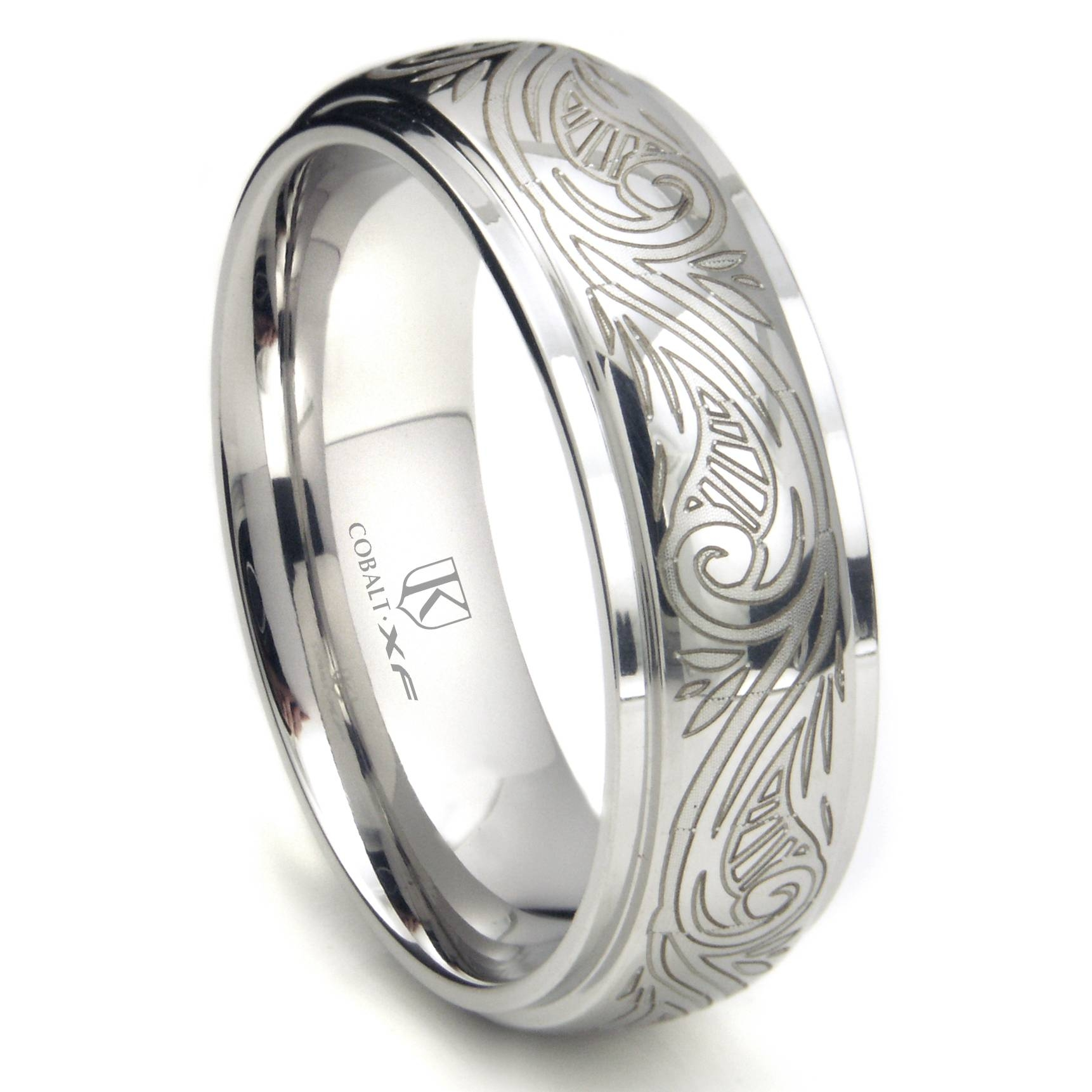 Cobalt Xf Chrome 8Mm Laser Engraved Paisley Motif Dome Wedding Throughout Engraving Mens Wedding Bands (View 3 of 15)