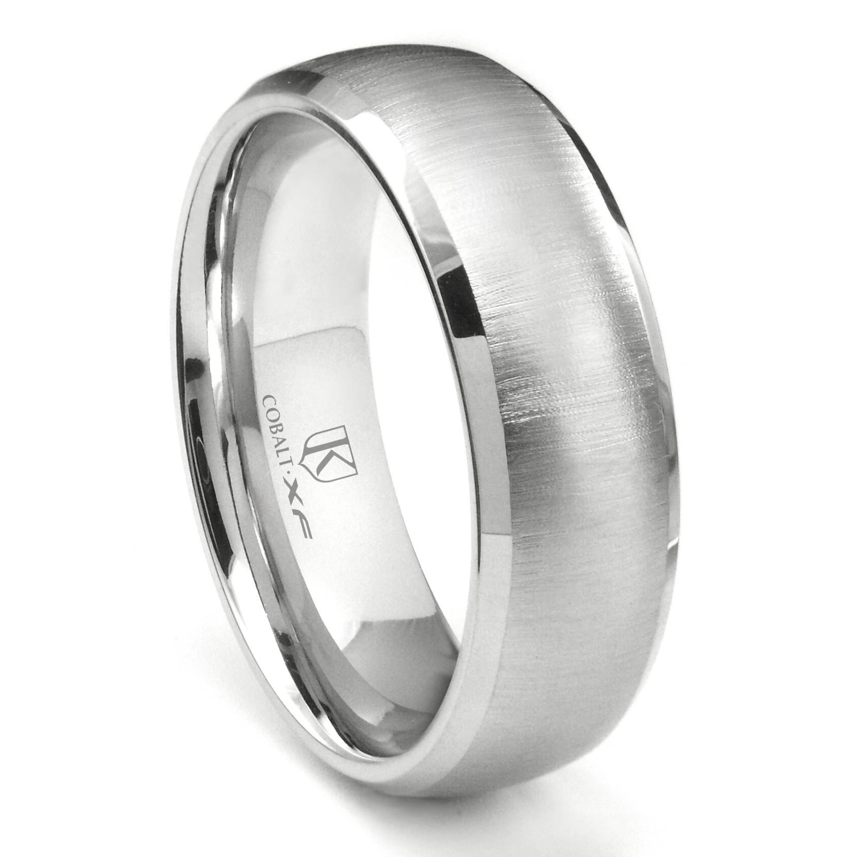 Cobalt Xf Chrome 8Mm Satin Finish Dome Wedding Band Ring W Regarding Cobalt Wedding Rings (View 10 of 15)