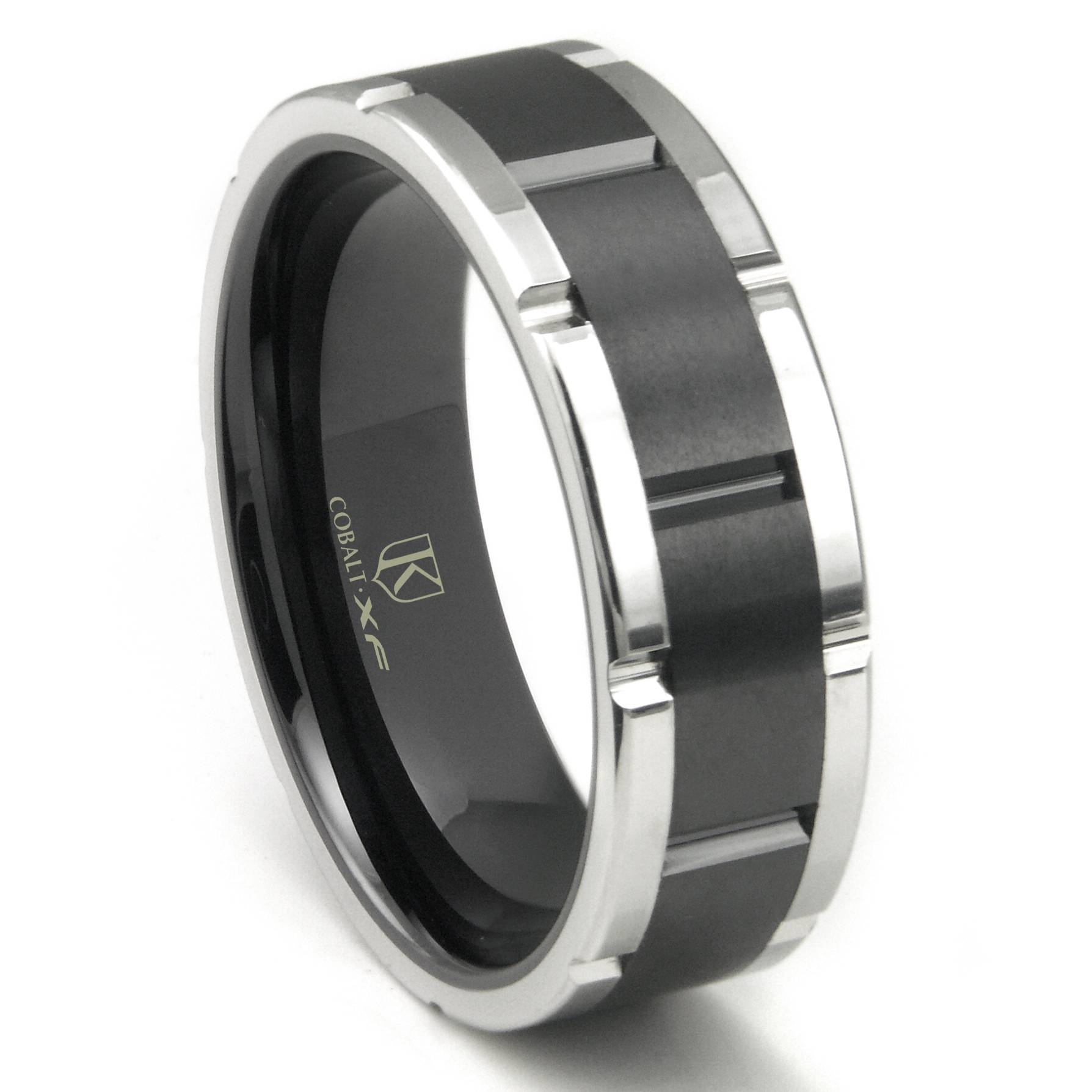 Cobalt Xf Chrome 8mm Two Tone Matte Finish Center Wedding Band Ring Throughout Matte Black Mens Wedding Bands (View 4 of 15)