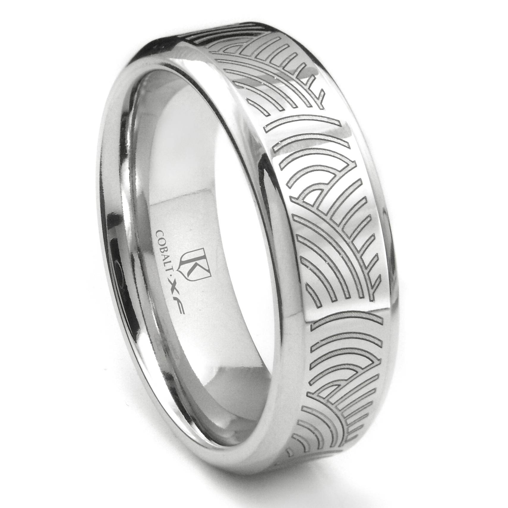 Cobalt Xf Chrome Laser Engraved Wedding Band Ring W/ Ripple Designs Within Engrave Wedding Bands (View 4 of 15)