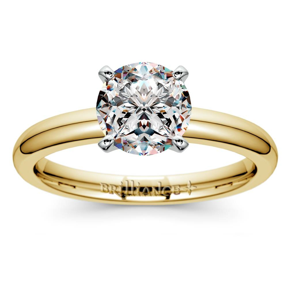 Comfort Fit Solitaire Engagement Ring In Yellow Gold (2Mm) Intended For Classic Gold Wedding Rings (View 10 of 15)