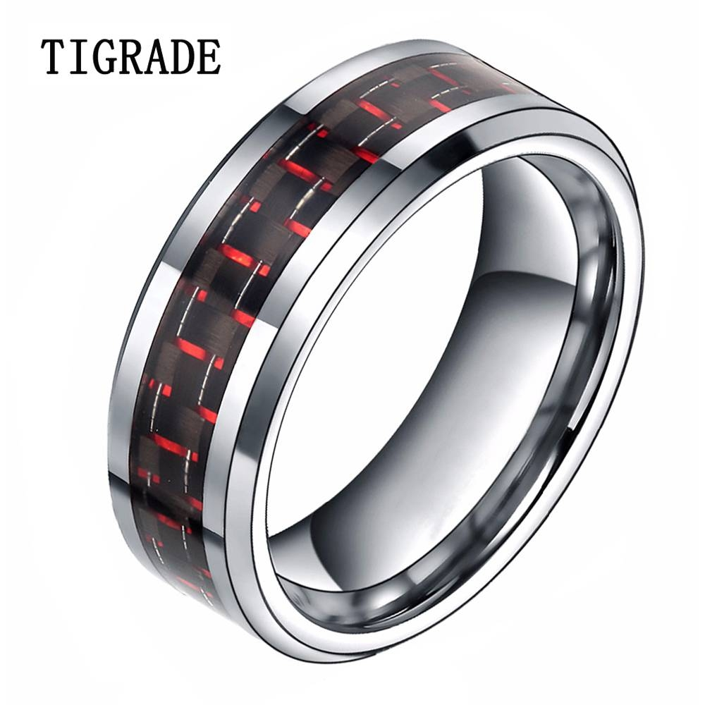 Compare Prices On Black And Red Mens Wedding Bands Online Inside Black And Red Men's Wedding Bands (View 7 of 15)