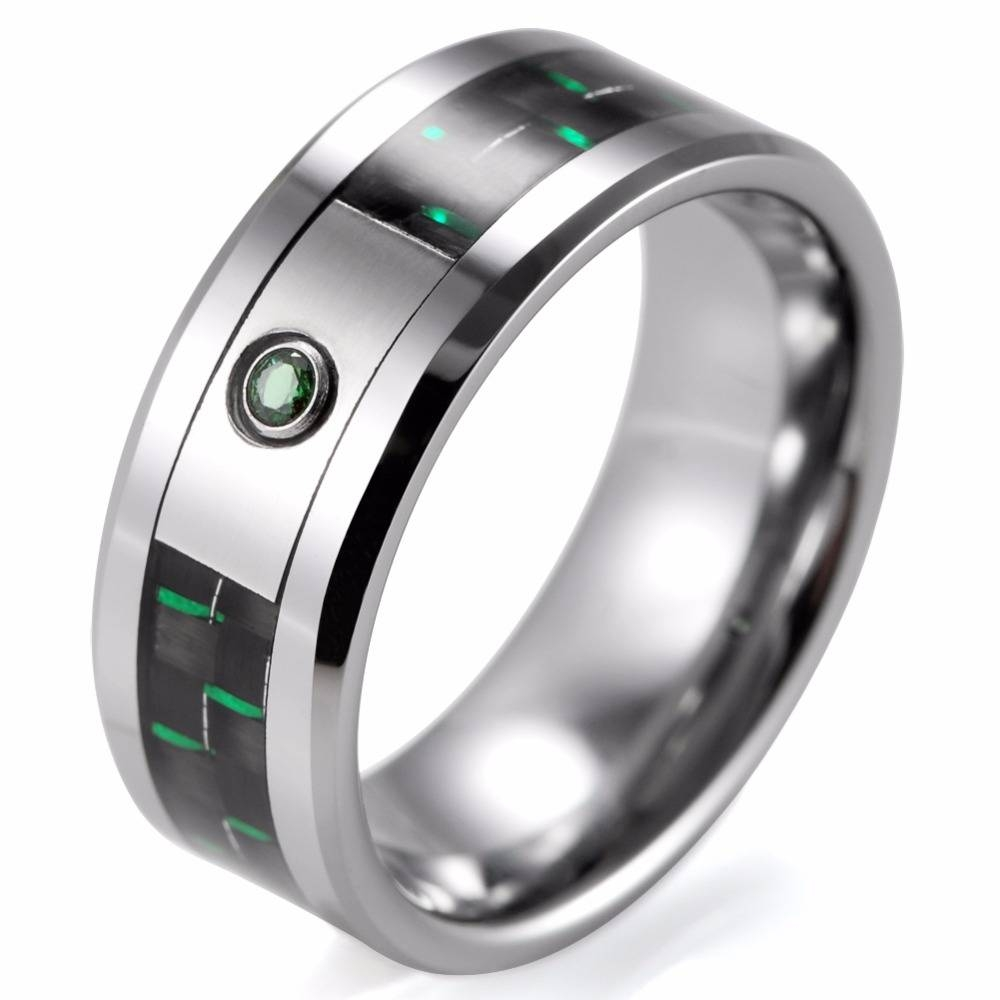 Compare Prices On Carbon Fiber Wedding Bands Men  Online Shopping Regarding Green Men's Wedding Bands (View 7 of 15)