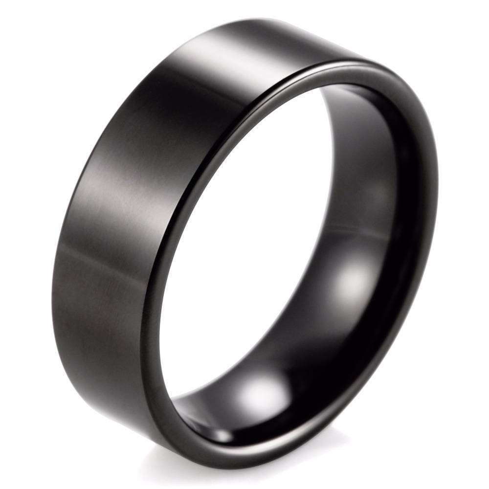 Compare Prices On Flat Black Ring  Online Shopping/buy Low Price Inside Flat Black Wedding Bands (View 4 of 15)