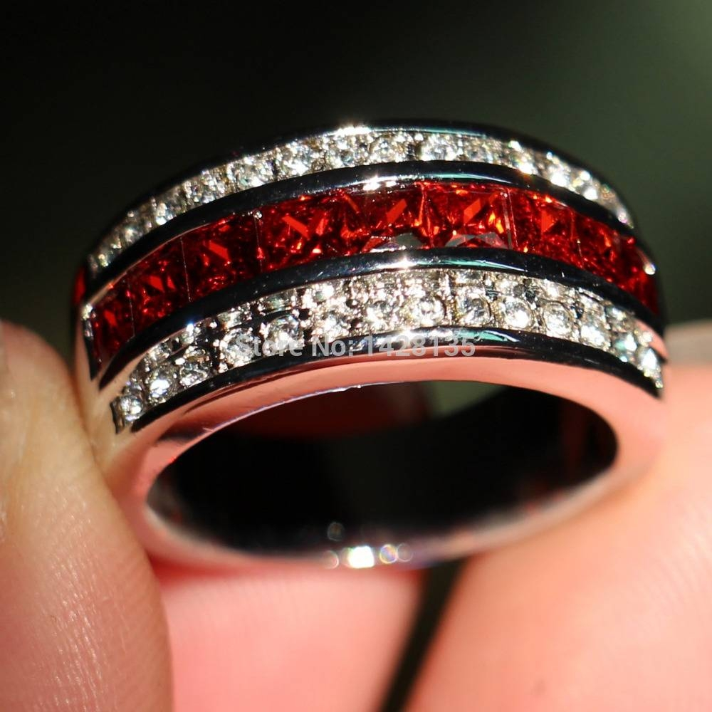 Compare Prices On Garnet Diamond Rings  Online Shopping/buy Low Regarding Red Men's Wedding Bands (View 4 of 15)
