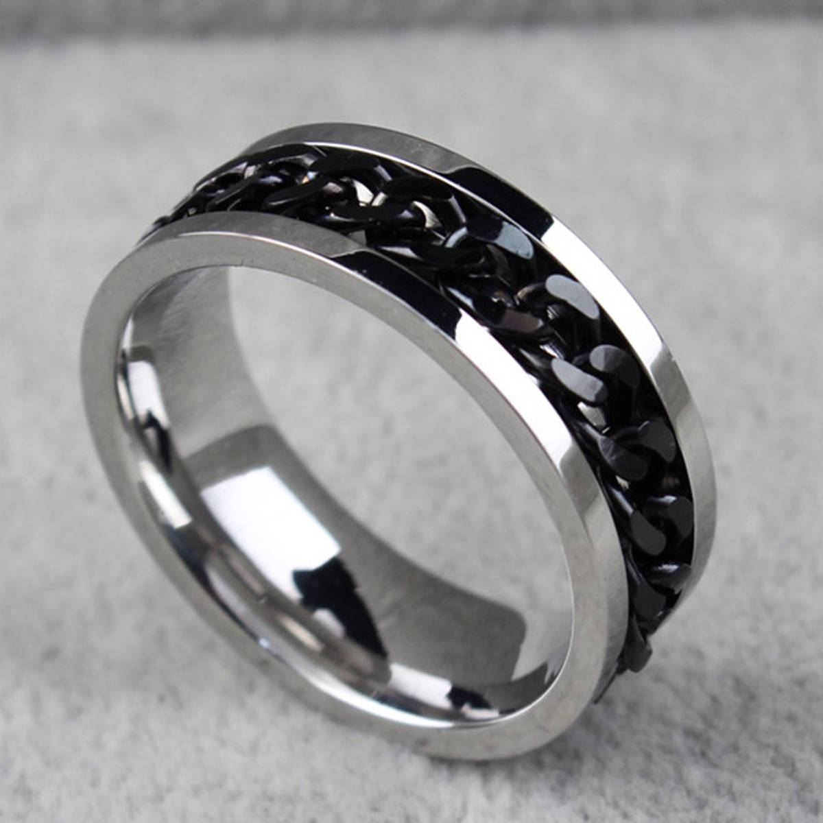 Compare Prices On Mens Chain Ring  Online Shopping/buy Low Price Inside Men's Spinning Wedding Bands (View 2 of 15)