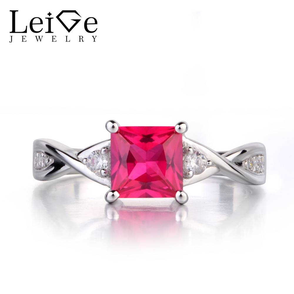 Compare Prices On Square Cut Ruby Ring  Online Shopping/buy Low Throughout Princess Cut Ruby Engagement Rings (View 9 of 15)