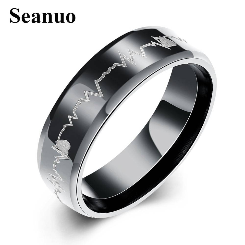 Compare Prices On White Gold Men Ring  Online Shopping/buy Low Regarding Black And Silver Mens Wedding Rings (View 6 of 15)