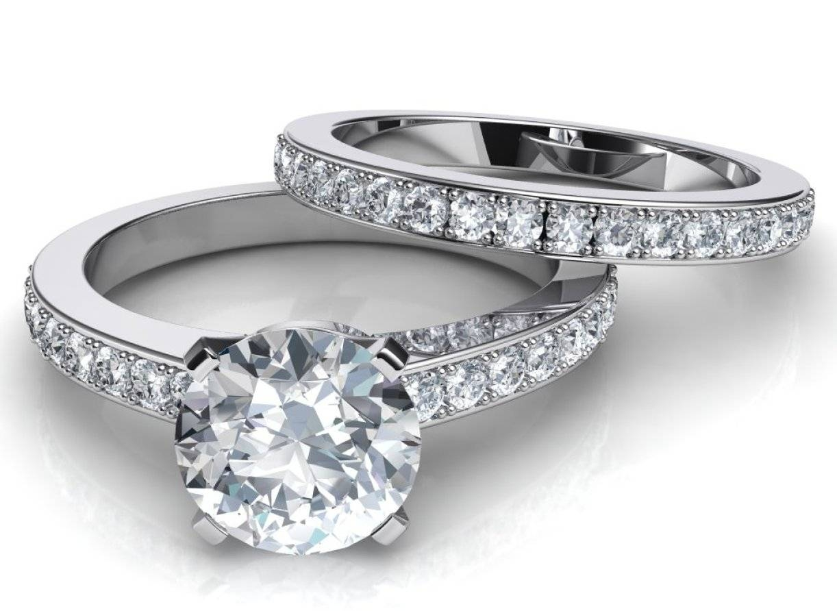 Photo Gallery of Wedding And Engagement Rings That Fit Together ...