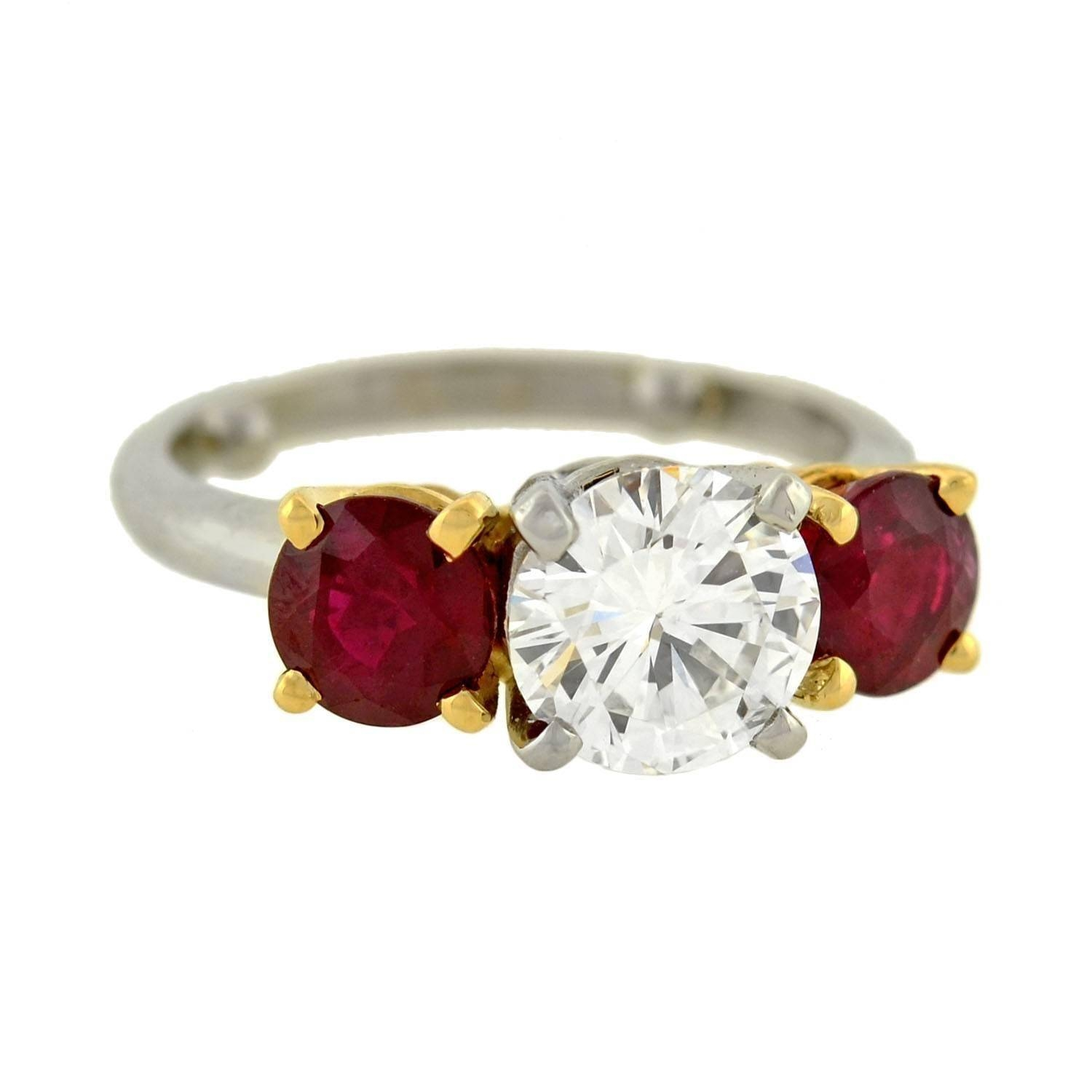 Contemporary Diamond Ruby 3 Stone Engagement Ring For Sale At 1Stdibs With Regard To Engagement Rings With Ruby And Diamond (View 5 of 15)