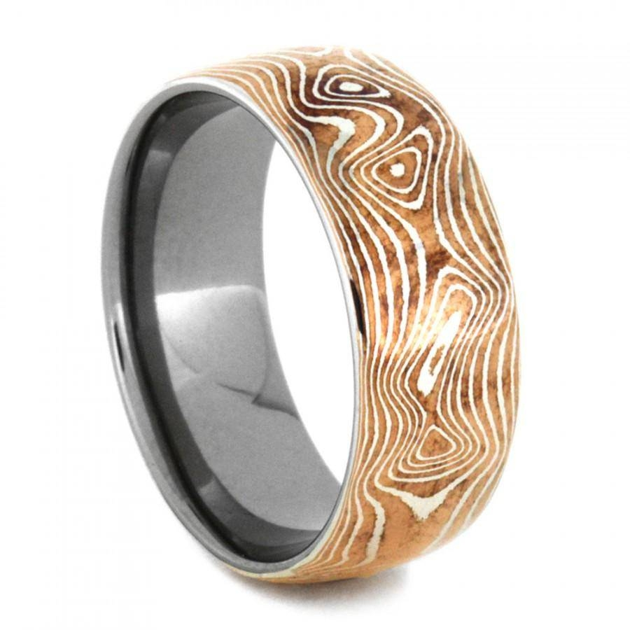 Copper And Silver Mokume Gane Ring With Titanium, Mokume Gane Mens Regarding Mokume Wedding Bands (View 3 of 15)