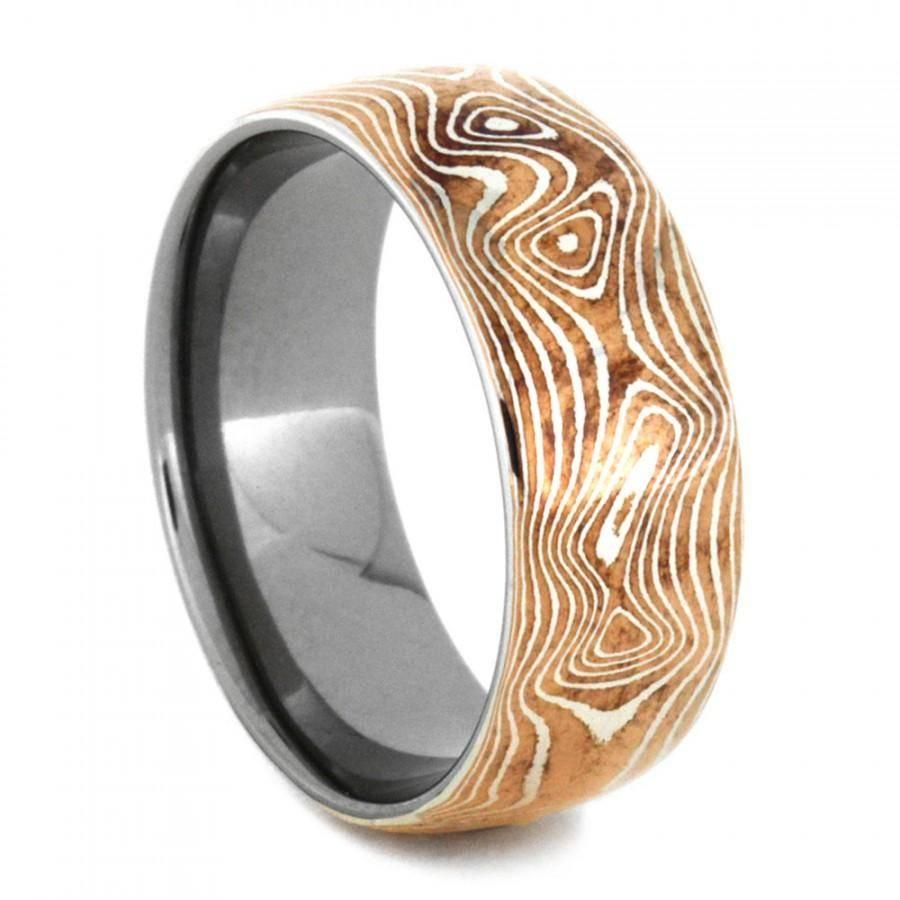 Copper And Silver Mokume Gane Ring With Titanium, Mokume Gane Mens Regarding Mokume Wedding Bands (View 13 of 15)