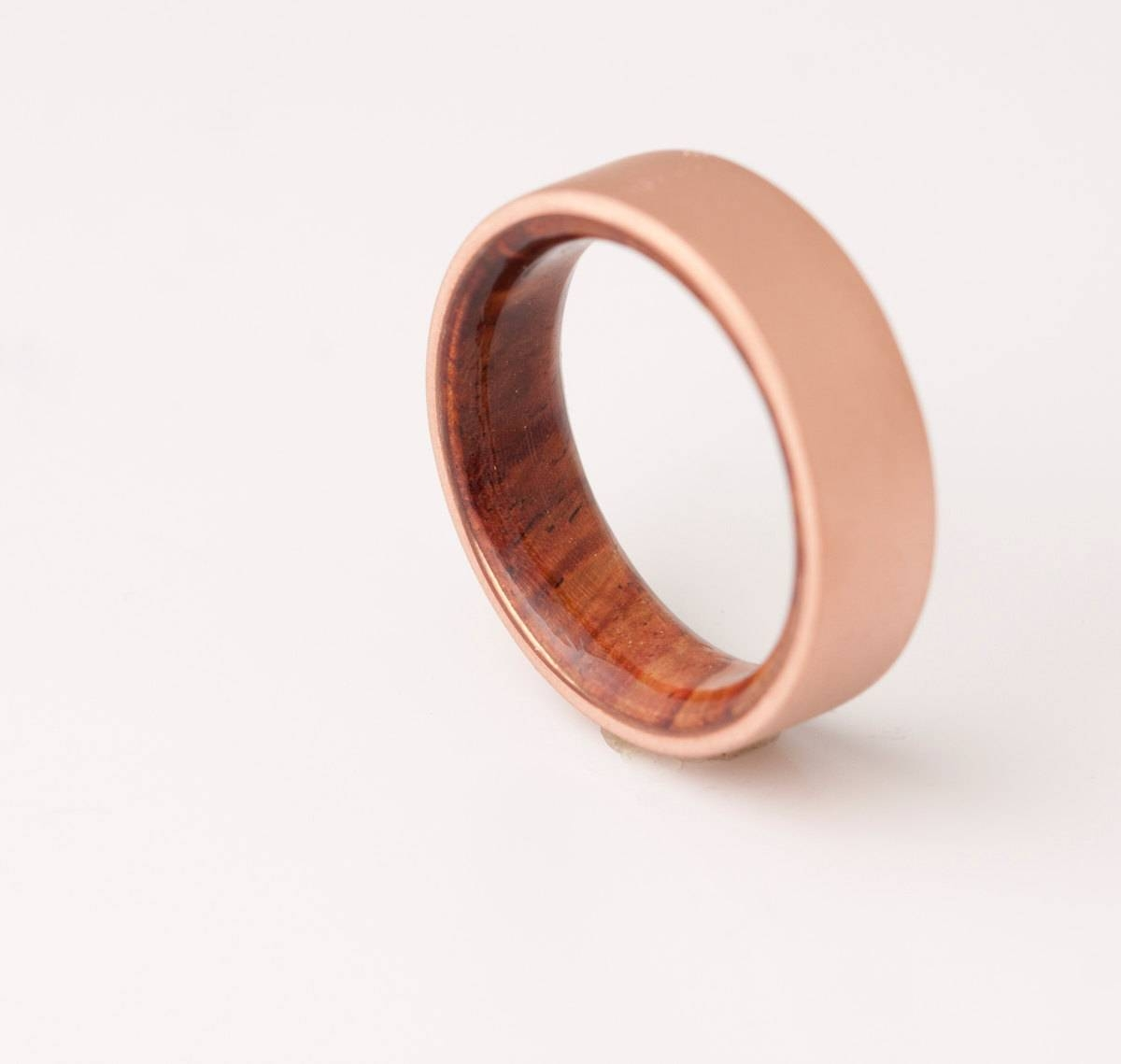Copper Wedding Band // Copper Wood Ring // Cocobolo Ring // Regarding Mens Wooden Wedding Bands (View 6 of 15)