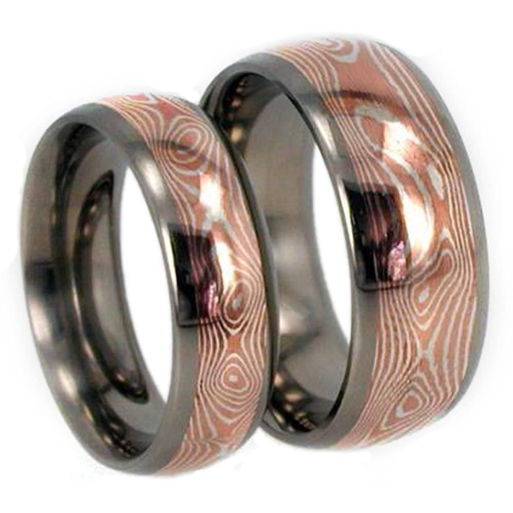 Copper/silver Mokume Gane Wedding Bands In Titanium Intended For Mokume Gane Wedding Rings (View 7 of 15)